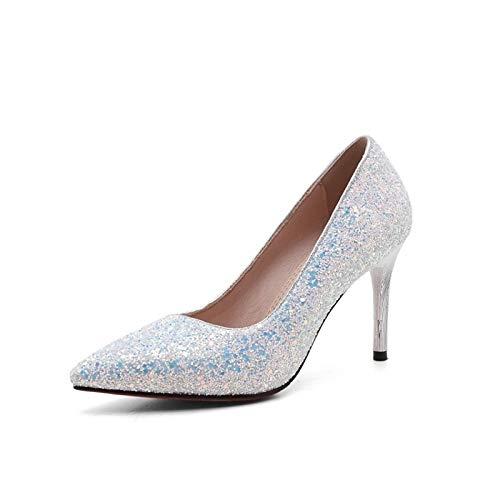Comfort PU y Mujer Stiletto Negro Azul Real Verano Poliuretano Primavera Zapatos Black Blanco de ZHZNVX Heel Heels qn8Ap