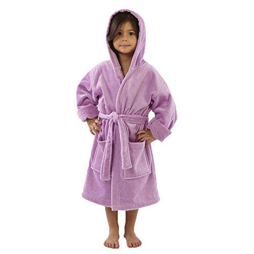 TurkishTowels Terry Velour Hooded Kids Bathrobe (Ages 7-11, Purple)