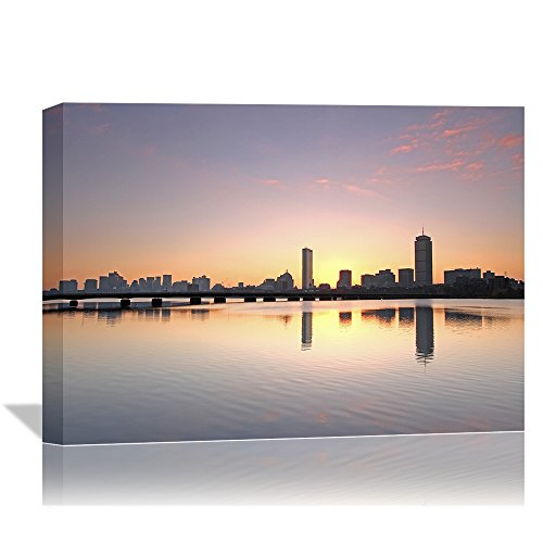 Boston Charles River City Skyline Sunset Picture Canvas Print Wall Decoration Art Bridge Massachusetts Cityscape Photo Painting for Architecture Landscape Framed Wall Decor Artwork for Office Hotel