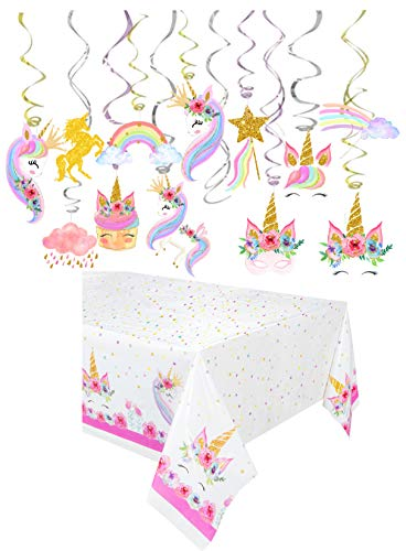 30Pcs Glittery Water Color Unicorn Hanging Swirl Decorations-Unicorn Party Favors-Unicorn Birthday Party Supplies (With Tablecloth)