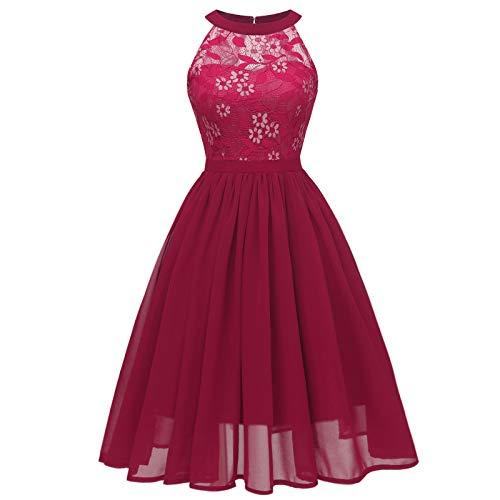 여성의 꽃 레이스 칵테일 파티 드레스 웨딩 형식적인 캐주얼 드레스 슬리브리스 우아한 신부 들러리 드레스