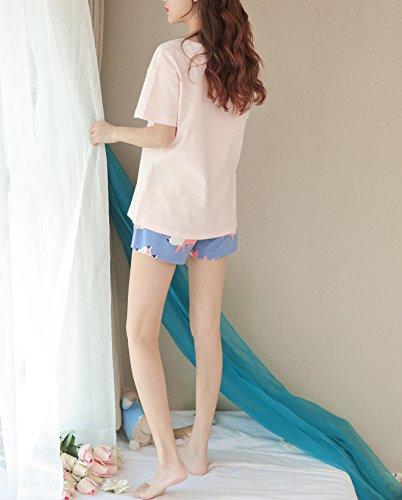 KINYBABY Big Girls Summer Pajama Set Cute Fox Printed Cotton Sleepwear Top&Shorts Pink Fox L by KINYBABY (Image #3)