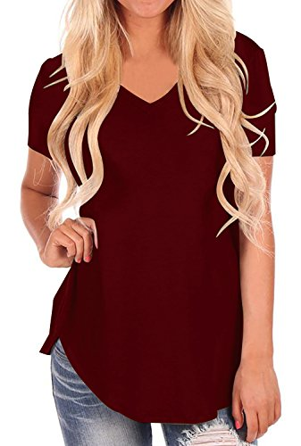 (StyleDome Women V Neck Casual Blouse Shirts Short Sleeve Asymmetrical Hem Solid Plain Long Tee Tops Wine Red US 8)