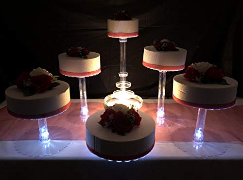 Multi Tier Wedding Cake Stand with LED Lights and Optional Water Fountain (6 Tier Stand, With Fountain) - Lighted Punch Fountain
