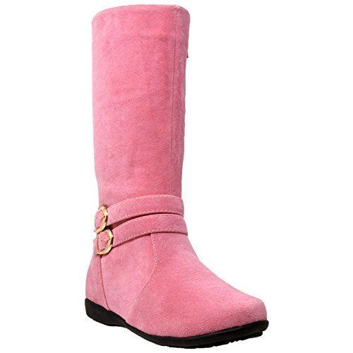 Generation Y Kids Boots Knee High Girls Faux Suede Gold Buckle Accent Riding Shoes Pink SZ 1 ()