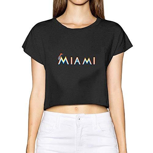 (New Miami Marlins Women's Graphic Print Memorial Crop Top Tee )