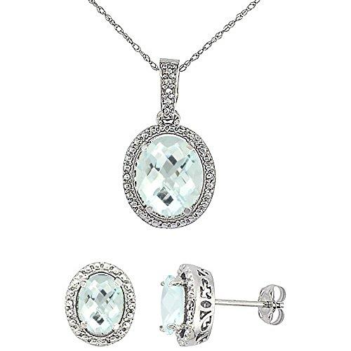 Or blanc 9Ct naturel ovale Améthyste Boucles d'oreilles et pendentif Set Accents de diamant