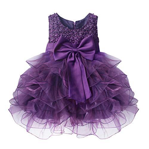 TiaoBug Newborn Baby Girls Sleveless Bowknot Baptism Christening Flower Princess Tutu Dress Wedding Pageant Party Dresses Purple 6-9 Months
