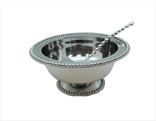 PUNCH BOWL AND BEADED LADLE (BEADED, PEWTER) by E GIFT ART