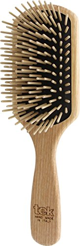 (Tek paddle hair brush in ash wood with long pins - Handmade in Italy)