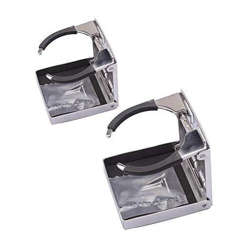 Hoffen Pair ! 316 Stainless Steel Folding Cup Drink Holder,Fold Up Adjustable Drink Bottle Cup Holder for Marine Boat Yacht RV