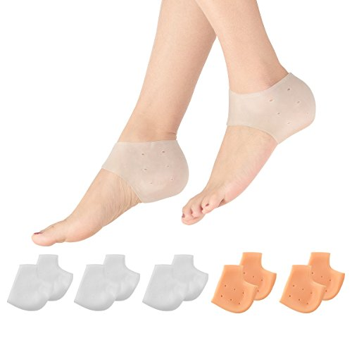 Madholly 5 Pairs Gel Heel Sleeves, Breathable Silicone Heel Socks Protectors to Repair Dry Cracked Heel and Reduce Pains of Plantar Fasciitis, Achilles Tendonitis Tendon, Heel Spurs, Sore Heel