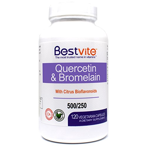 Quercetin with Bromelain 500mg/250mg (120 Vegetarian Capsules) with Citrus Bioflavanoids - No Stearates