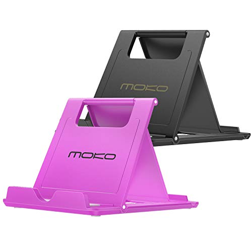 MoKo [2 Pack Cellphone/Tablet Stand, Foldable Multi-Angle Desktop Holder Compatible with iPhone X/Xs/Xs Max/XR/8 Plus, Galaxy S9/S9 Plus, iPad Pro 11 2018/10.5, Nintendo Switch, Black + Purple
