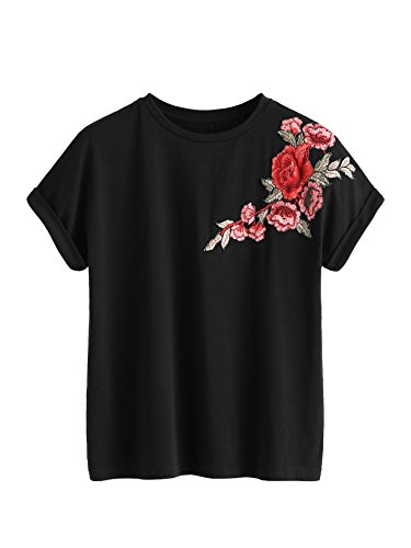 Romwe Women's Floral Embroidery Cuffed Short Sleeve Casual Tees T-Shirt Tops Black L ()