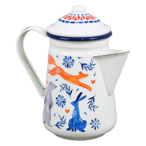Folklore Woodland Watercolor Sunrise Individual Enamel Coffee Pot, 22 Fluid Ounces