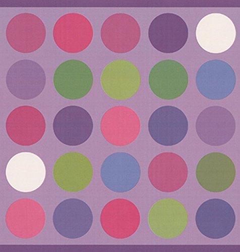 Colorful Circles Mauve Purple Wallpaper Border Abstract Design, Roll 15' x 9