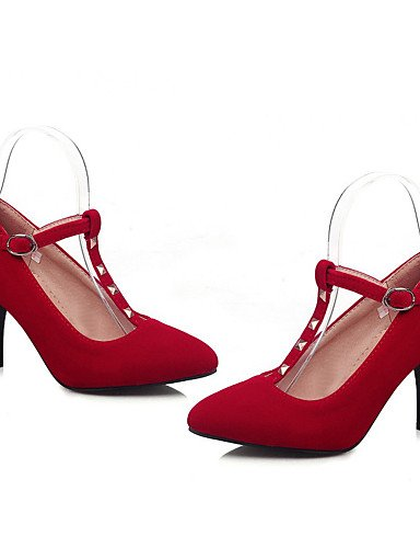 GGX/ Damen-High Heels-Büro / Kleid / Lässig-Vlies-Stöckelabsatz-Absätze / Spitzschuh-Schwarz / Blau / Rot red-us5 / eu35 / uk3 / cn34