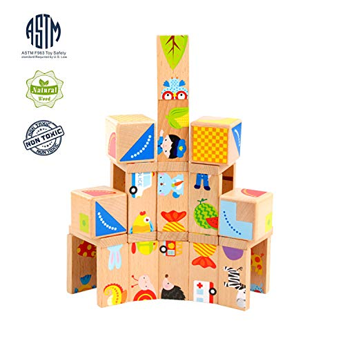 MEIGO Wooden Toys - Toddler Wooden Educational Preschool Dominoes Shape Puzzle Matching Game Building Blocks for Kids 1 2 3 4-5 Year Old Boys Girls (32PCS)