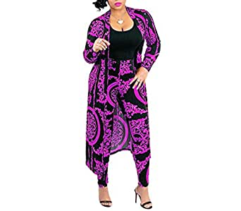 Max2co Nice2co Women 2 Piece Outfits Floral Long Sleeves Open Front Cardigan Cover up with Leggings High Waist Long Pants Set (Purple, 3XL)