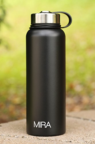 MIRA Vacuum Insulated Powder Coated Leak-Proof Wide Mouth Water Bottle | Double Walled Stainless Steel Travel Bottle | No Sweating, Keeps Your Drink Hot & Cold | 40 Oz (1200 ml) | Black