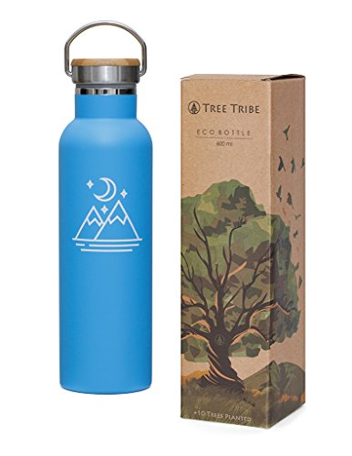Tree Tribe Stainless Steel Blue Water Bottle 20 Oz   Mountain And Moon   Indestructible  Bpa Free  100  Leak Proof  Double Wall Insulated For Hot And Cold  Wide Mouth