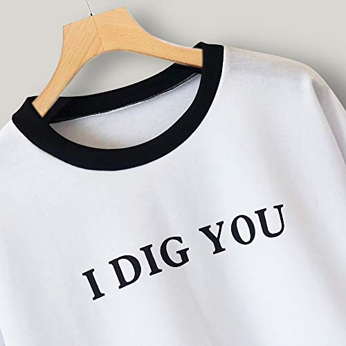 Color Sleeve Letter Sweatshirt Women Stripe Block Top Blouse White Long Print Pullover wUntx4qxS