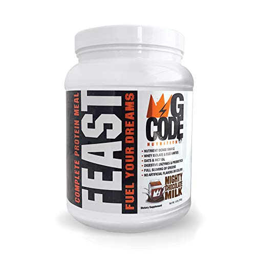 GCode Feast Complete Protein Meal Mighty Chocolate Milk Whey Isolate, Egg Whites, Oats, Organic Greens, MCT Oil, Probiotics, Digestive Enzymes