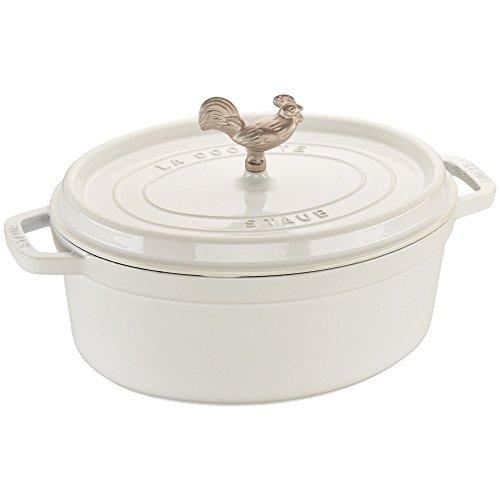 - Staub 1123102 Cast Iron Coq au Vin Cocotte, 5.75-quart, White