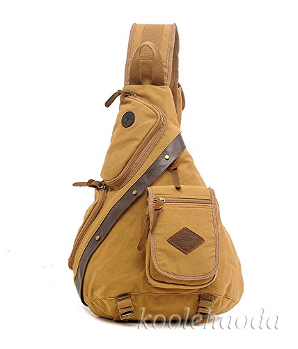 Koolehaoda Vintage Canvas with Cowhide Real Leather Chest Pack (8171-Coffee) White MGuSb