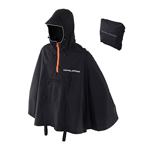 Packable rain poncho DRW134-BK Compact foldable poncho Careers with the CBA food piping reflector Water pressure resistance 3000mm The product made of nylon