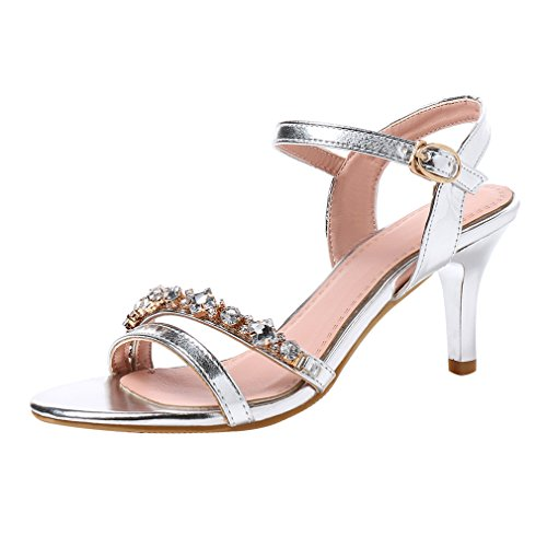YE Women's High Stiletto Heels Glitter Sandals with Ankle Strap Open Toe Court Shoes Silver JnRgNs