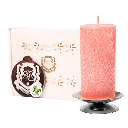 Passo Avanti Premium Candle Set 100% Natural Palm Wax,Decorative Pillar, 4 inch. Height, 50-60 Hours of Burning Best Gift for Her/Him Unscented Coral Marble Candle and Silver Candlestick + The Gift