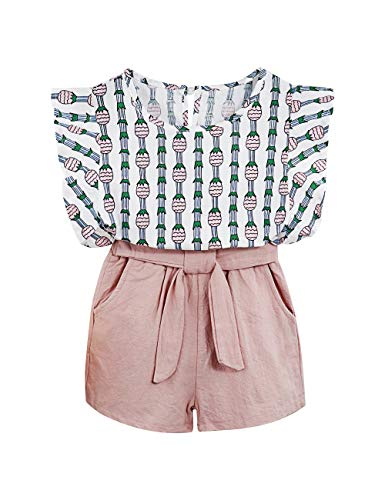 2PCS Set Kids Girls Outfits Clothes Ruffle Sleeve Blouse Pineapple T-Shirt Tops + Shorts Pants (7 T)