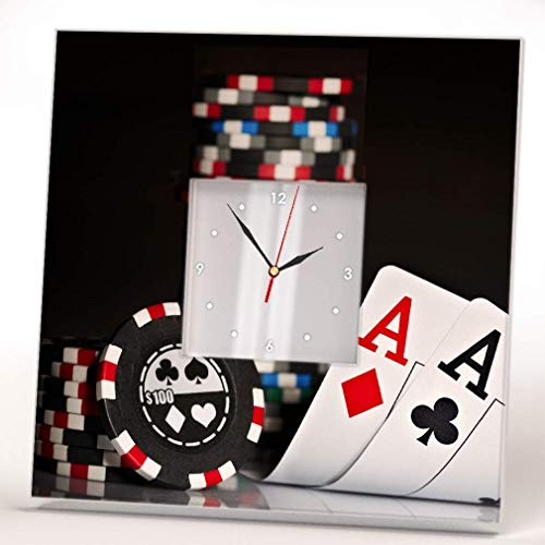 Poker Stack Chips Cards Aces Wall Clock Framed Mirror Decor Casino Fan Design Art Printed Home Gift