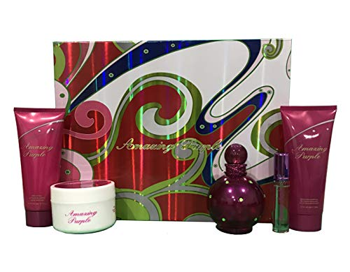 (Bouquet Perfume AMAZING PURPLE, Inspired by BRITNEY SPEARS FANTASY, 5 Pcs Women's Gift Set (Eau De Toilette, Lady Powder, Shower Gel, Body Lotion), Perfect Gift, Daytime and Casual Use )