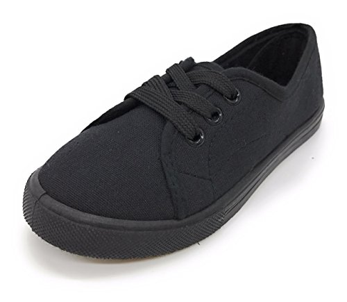 EASY21 Girl Canvas Shoes Loafer Kids Shoes Lace-Up,LURE-11K (10 M US Toddler, All Black)