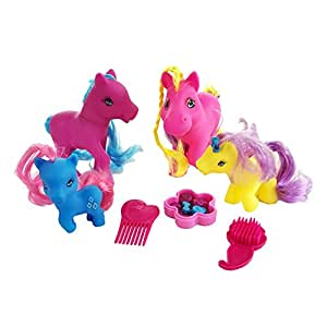 BOLEY Girls Pony Playset - 15pc Pink Little Ponies with Brushes and Beads the Perfect Girls Party Set - Great as Birthday Gifts, Presents, and Party Favors