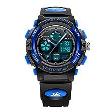 VORCOOL Reloj Digital para niños Reloj Infantil 30M Impermeable con Alarma LED Calendario Cronómetro para niño niña (Negro Azul)