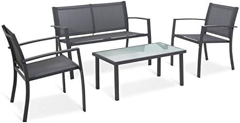 Sigtua Juego de Muebles de jardín de 4 Piezas de Jardin Muebles de Patio al Aire