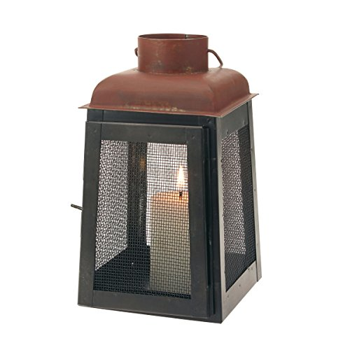 Stonebriar Industrial Graphite and Rust Metal Lantern with Mesh Sides