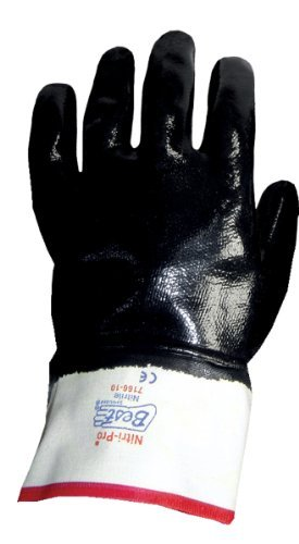 Gloves Grip Jersey Extra (SHOWA 7166 Fully Coated Nitrile Glove, Smooth Grip, Cotton Jersey Liner, Reinforced Safety Cuff, General Purpose Work, Large (Pack of 12 Pairs) by Showa Best Glove)