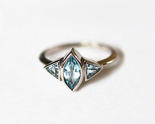 18k Palladium Aquamarine Ring, Gold Aquamarine Ring, Marquise Aquamarine Ring, Aquamarine Engagement Ring, Three Stone Ring