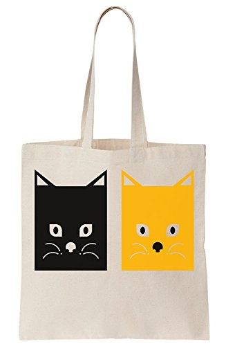 Cat Square Yellow Bag White Black Canvas Cats Tote r1xEqwCrd