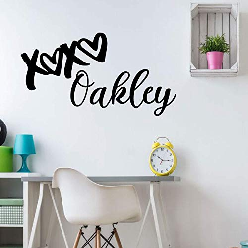 Personalized Name 'Hugs an Kisses' Vinyl Wall Decal - 'XOXO' Silhouette -Vinyl Sticker Decoration for Girl's Bedroom, Playroom or Nursery Decor
