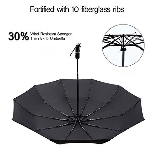 Automatic Umbrella Windproof Travel Umbrella with 210T Teflon Coating//43.3 Width//10 Ribs//Auto Open Close Button