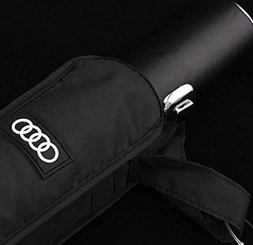 Audi genuine leather handle Japanese brand sun rain Umbrella 3 Fold Anti UV French royal umbrella men women (Black) by Pinsjar (Image #5)