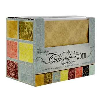 (Tattered & Worn Cards & Envelope, Blank Notecards, 48 sets, Assorted Colors and Designs)