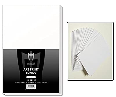 "100 ART PRINT Size White Backing / Sketch Boards by Max Pro (11"" x 17"") 24 point thickness - 1 side Kid finish- Great for Sketches or Backing Art"