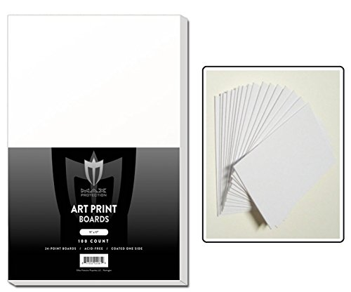 "100 ART PRINT Size White Backing / Sketch Boards by Max Pro (11"" x 17"") 24 point thickness - 1 side Kid finish- Great for Sketches or Backing Art from Max Protection"